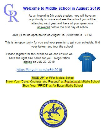 Middle School Open Houses on August 15, 2019 from 5-7 p.m.