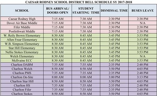 NEW CRSD BELL SCHEDULE ANNOUNCED